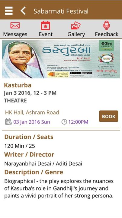 Come to watch my play #Kasturba in #SabarmatiFestival #HKCollege Tomo 3rd Jan 2016 12 pm #FreeEntry just register ur seats on the app of #SabarmatiFestival or website #walkinswelcome