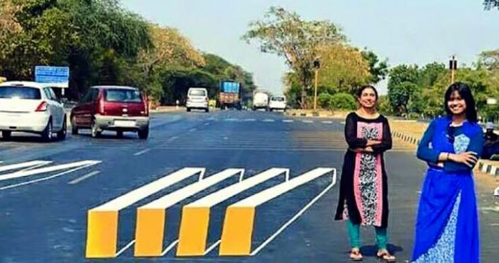 Amdavadi girl paints 3D ZebraCrossing....  What all wld u wish to be painted on road in 3D in ahmedabad?