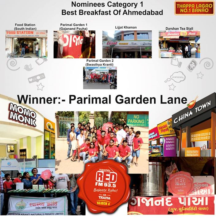 winner of Red FM Ka #Thappa4 1st category  Ahmmedabad's Best Breakfast #ParimalGarden #SwasthayaKranti #Gajanan #VasuKiIdli