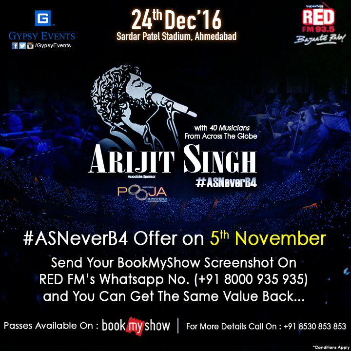 Red FM brings #ArijitSingh #AsNeverB4  Book ur tickets today on #BMS entire day, take a screen shot n whatsapp it to #Redfm #8000935935 n win a chance to get the same value back. only For today...