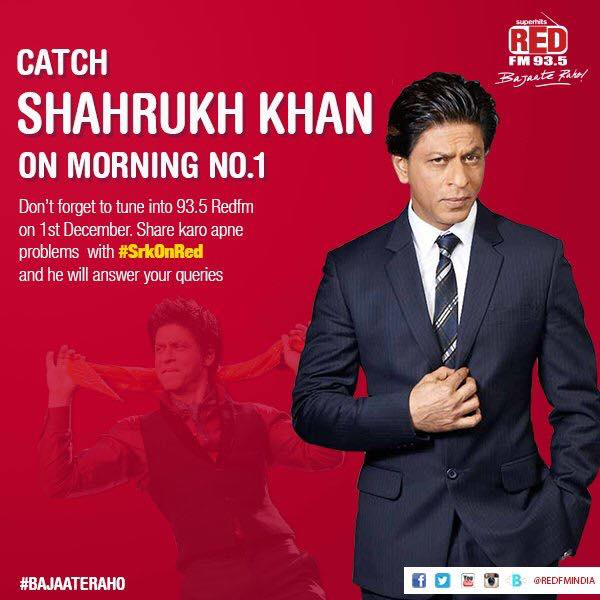 You may open your hearts out to @iamsrk & live Dear Zindagi to the fullest.Tune into 93.5 Red FM Morning No.1 from 1st to 3rd December. I shall connect u two. Send in ur question either here or on my twitter handle RJ Devaki with #SrkOnRed