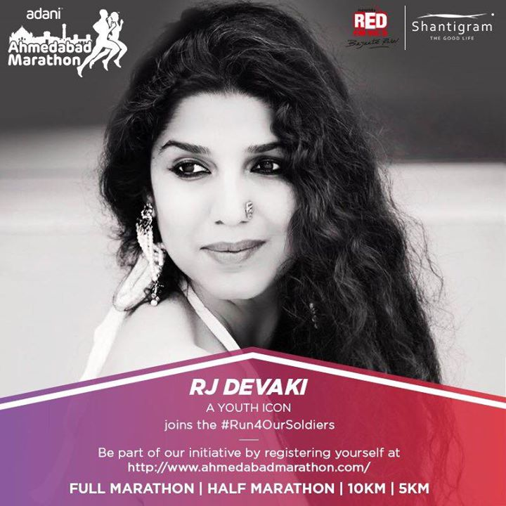 I am all set to #Run4OurSoldiers at the #AhmedabadMarathon on 26th of Nov. Register today at ahmedabadmarathon.com/registration  #RJDevaki #YouthIcon #AhmedabadMarathon