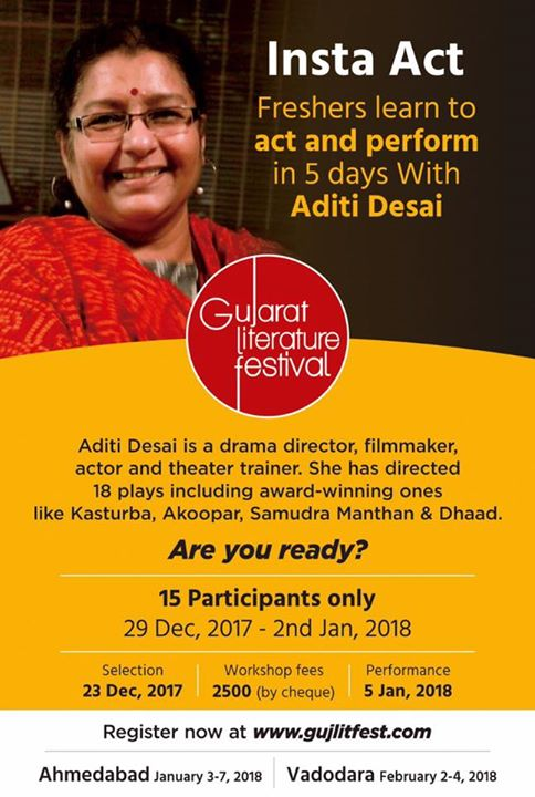 AditiDesai the veteran actor, director, producer n a film maker brings up the biggest challenge an actor trainer can take up.   Train complete freshers and make them perform a play just in 5 days for the audience of @gujlitfest season 5  Want to be an actor? Join quick...