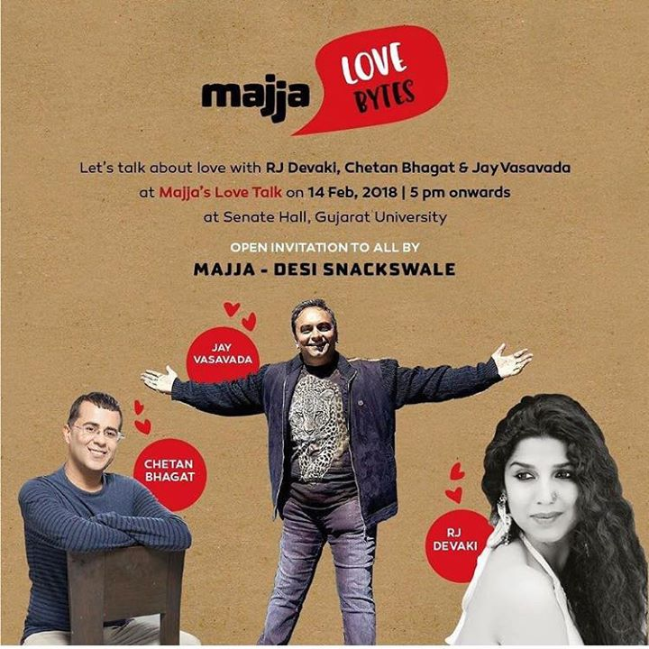 Let's talk about Love on valentine's day at 5pm  It will be me Jay Vasavada and Chetan Bhagat  Senate Hall is the venue  Entry is free.....