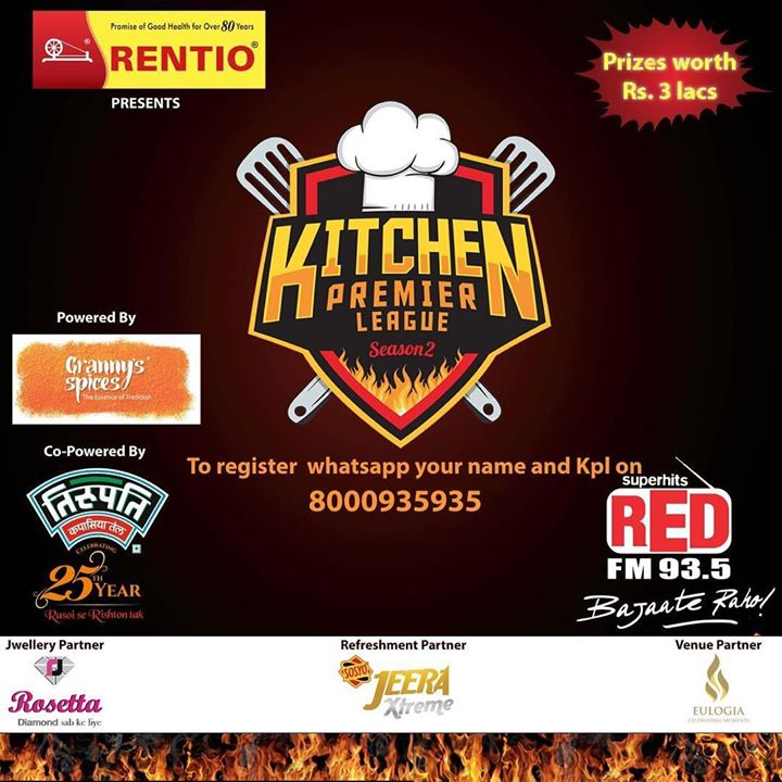 R u a good cook? Then I m looking for u.... win prizes worth 3 lacs by participating in the kitchen premiere league. Whatsapp KPL - ur name and send it to 8000935935 for ur registration @redfmindia #bajateraho