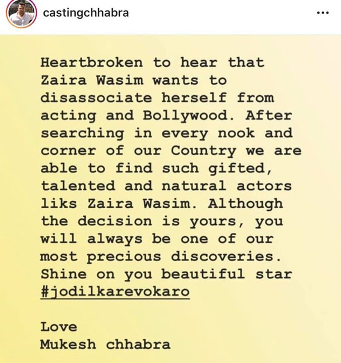 How heart breaking is this to read that such a stunning actor of Dangal and Seceret Superstar @zairawasim quits movies / acting forever