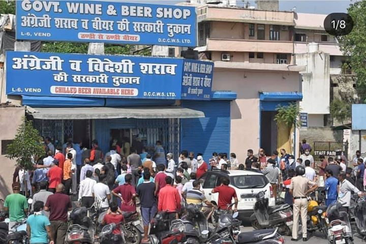After 40 days liquor shops reporting diff parts of the country, some images of delhi, Karnatak, Andhra, wouldn't terrible infection spread here in these km long lines?