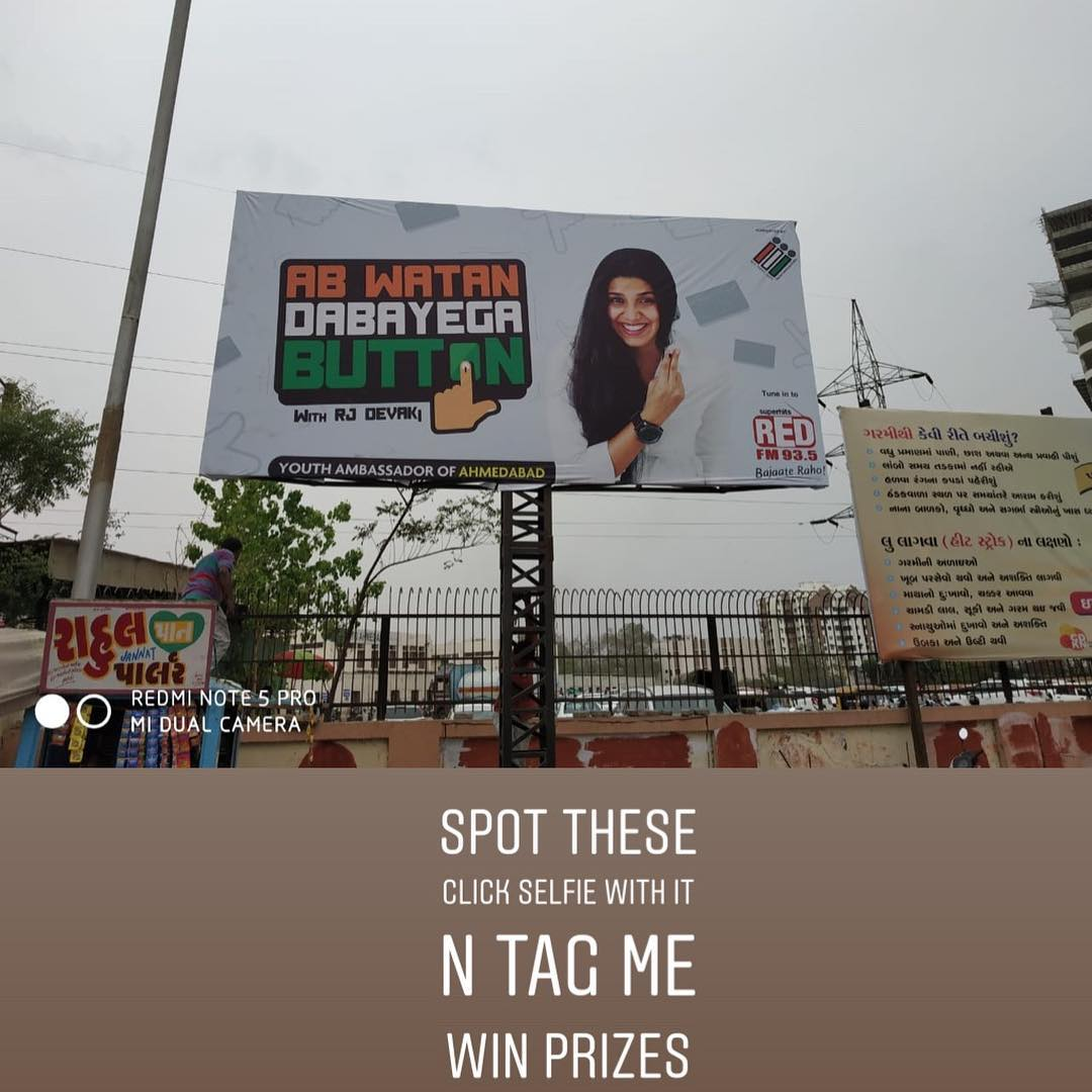23rd April #abwatandabayegabutton @redfmindia #ECI #YouthIcon #RJDevaki #loksabhaelection2019 #billboards