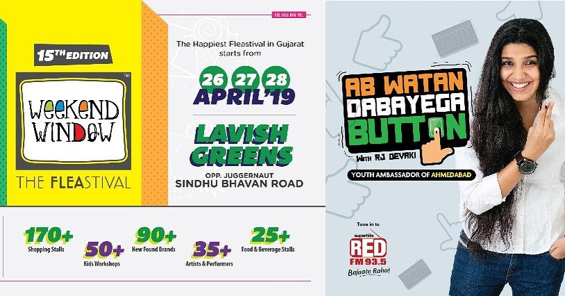Ahmedabad's biggest flea for ab watan dabayega button @redfmindia @weekendwindow thank you for supporting us, let's give ahmedabad the biggest party after biggest democratic celebration, be there at 26th, 27th and 28th April at lavish green , sindhubhavan road