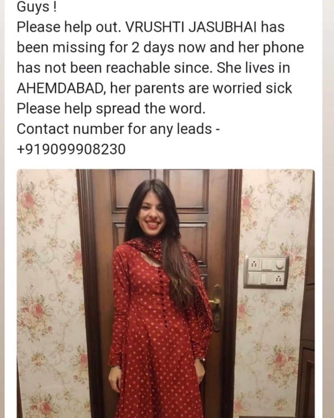 Help their families find these two friends vrushti n Shivam. They have been missing for 3 days n their families are very worried. The contact details for the same are 9099908230