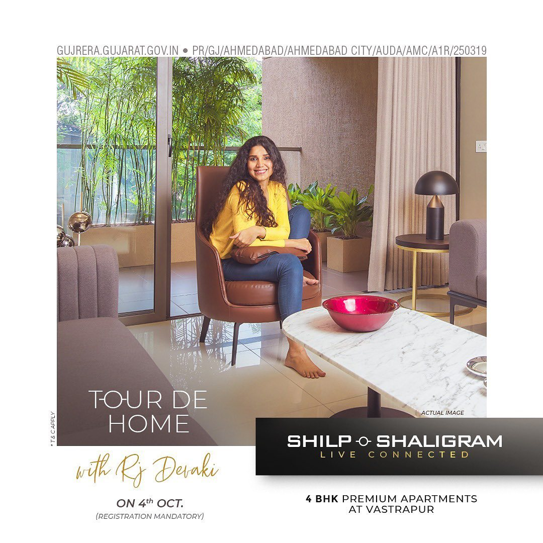 Hi! For me, home is where I find time for my passion and it is the same for many. I'll be at the Sample House of Shilp Shaligram, Vastrapur, waiting to meet and interact with you. So if you want to meet me and stay connected with a home that has more room for passion, register on 9081227227 and meet me on Sunday, 4th October! #liveconnected