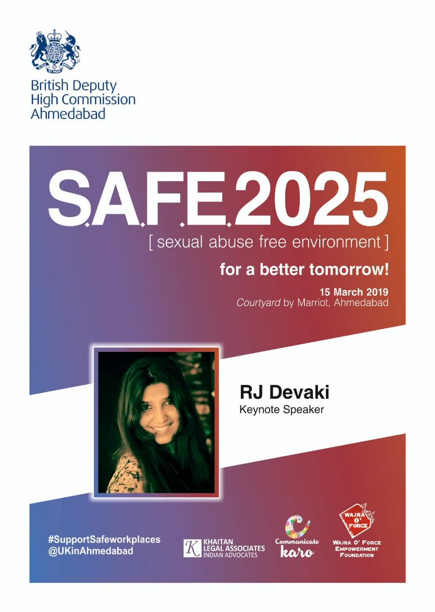 Excited to be the #KeynoteSpeaker for @UKinAhmedabad #BritishDeputyHighComission for #SexualAbuseFreeEnvironment https://t.co/CKtbsHJFIP